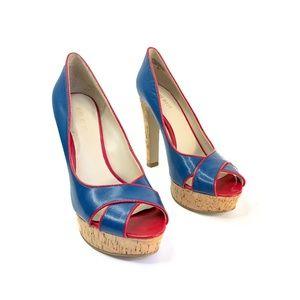 Nine West Blue Red Peep Toe Cork Pump Heel | 8